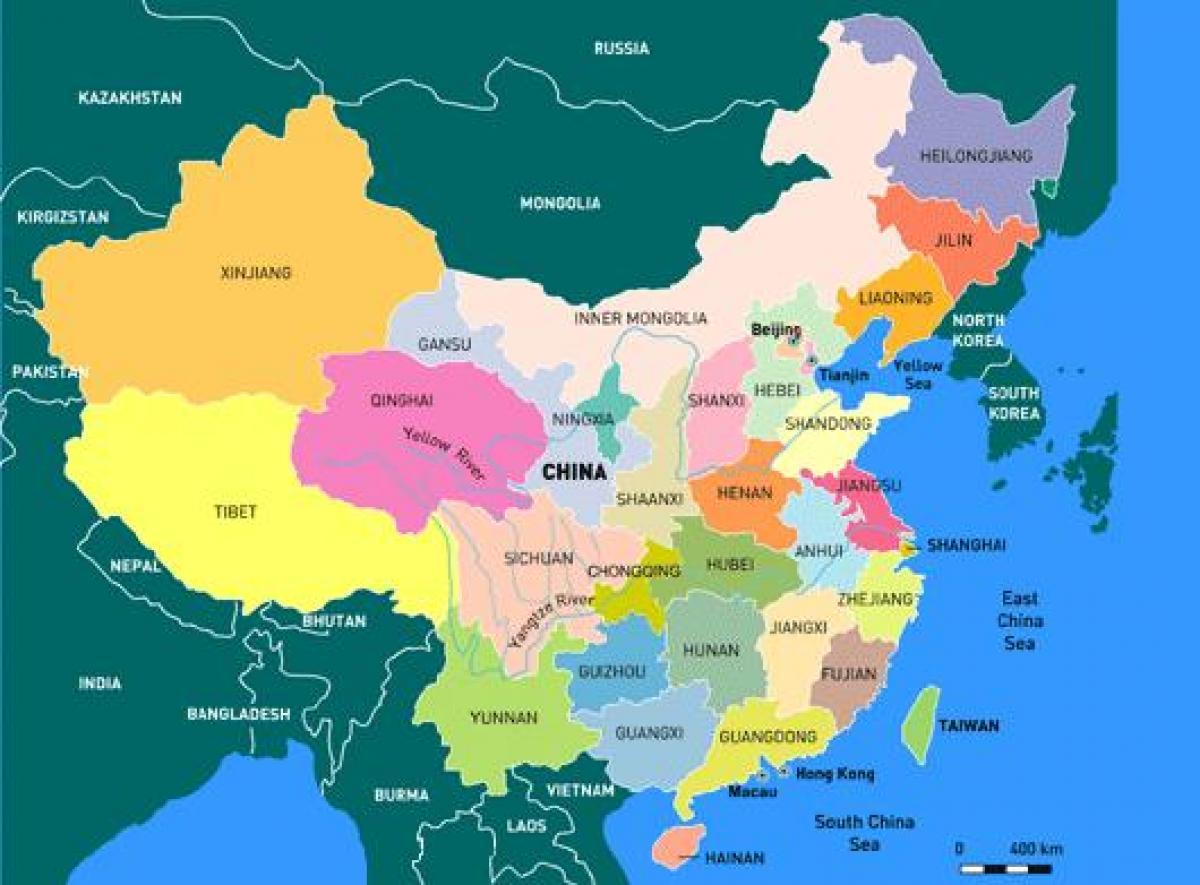 Karta Pokrajina Kina Kina Kartica Pokrajina Istocna Azija Azija