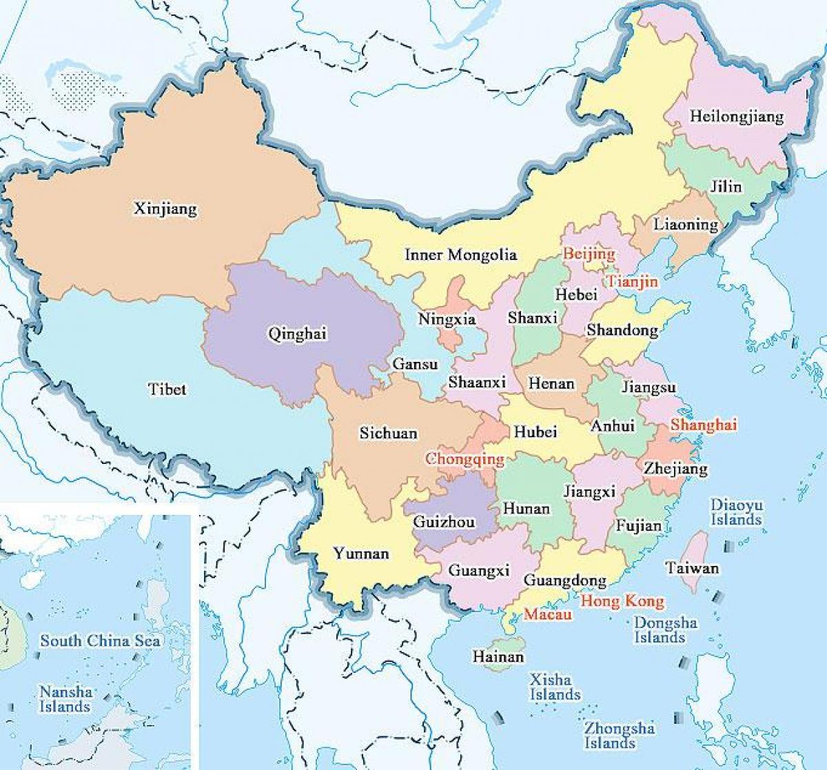 Mapa Kine Pokrajina I Gradova Kine Karta Gradova I Pokrajina