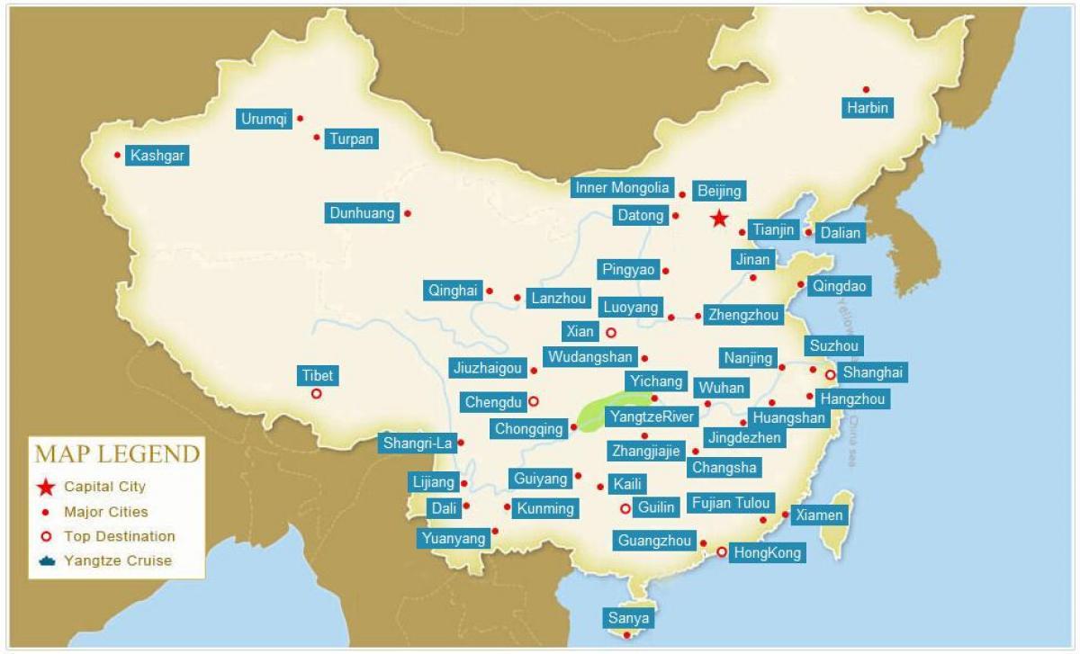 Mapa Kine S Gradovima Karta Kine S Gradovima Istocna Azija Azija