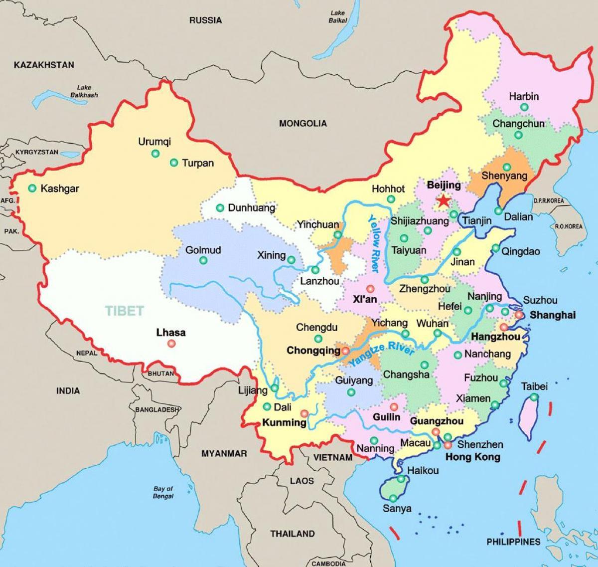 kina mapa Mapa Kine s velikih gradova Kine kartica najznačajnijih gradova (u  kina mapa